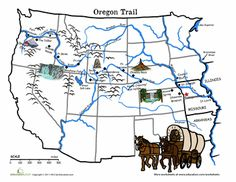 "Let's learn about the Oregon Trail and the ""Wagon Train of with this map of one of the main routes west! 7th Grade Social Studies, Social Studies Classroom, Teaching Social Studies, Teaching History, History Education, Teaching Geography, History Class, Kids Education, Family History"