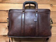 Vintage Coach Laptop Messenger Bag Vtg Dark Brown Leather Folio Crossbody Briefcase  Bag 5296 ee0da2b9f7