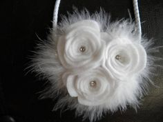 white felt flower headband with feathers by Yuliyasboutique