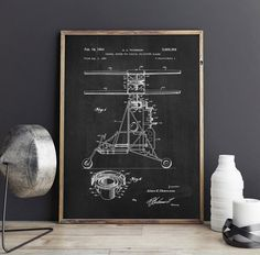 helicopter patent poster gift for pilot aviation decor by dalumna - Aviation Decor