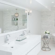 White Lacquered Bathroom Vanity, Contemporary, Bathroom, Catherine Tonon Interiors
