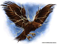 Thunderbird: An elemental force in the form of a bird large enough to carry whale's in it's talons from Native American folklore.