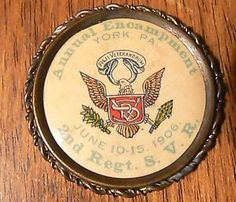 Post-war veterans button from an encampment in York of the 2nd Regiment, Sons of Veterans Reserve.