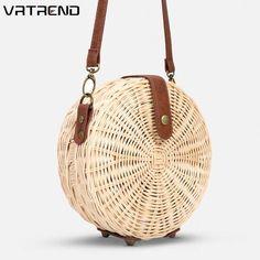 Women's Bags Shoulder Bags 2018 Rattan Woven Round Messenger Handbag Women Summer Holiday Beach Retro Tote Shoulder Hand Shoulder Straw Bags Bolsa Feminina 100% High Quality Materials