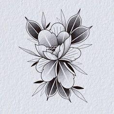 Mandala Tattoo Design, Tattoo Designs, Flower Tattoos, Small Tattoos, Flower Outline, Plant Tattoo, Cute Doodles, Peony, Blackwork