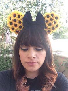 Custom Minnie Mouse Ears Sunflower