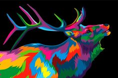 Deer colorful rainbow vector artwork by weervector on Colorful Animal Paintings, Colorful Artwork, Colorful Animals, Acrylic Pouring Art, Rainbow Art, Art Template, Arte Pop, Diy Painting, Pixel Art
