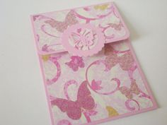 Gift Card Holder Pink Butterflies New Baby Birthday by jujucards, £1.50