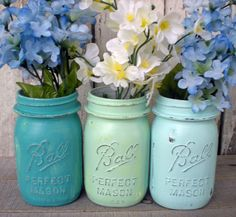 3 mason jars, blues, beach, wedding, turquoise, seafoam green, distressed, pint jar, old, vintage
