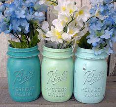 3 mason jars, blues, beach, wedding, turquoise, seafoam green, distressed, pint jar, old, vintage