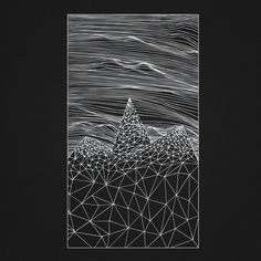 """Textured drawing with lines and gemetric shapes. """"Mountains Beyond Mountains""""."""