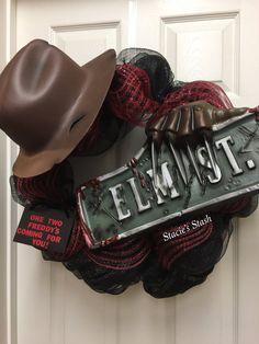 Halloween Wreath Freddy Krueger Elm St. Nightmare by StaciesStash