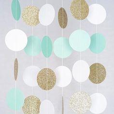 Mint White Gold Glitter Circle Polka Dots Paper Garland Banner 10 FT Banner, Celebration Party Decor
