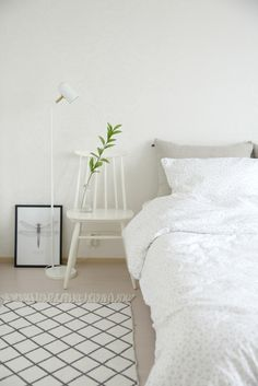 Fantastic minimalist styling of ooh noo linen bedding by Heinassa Heiluvassa. Linen Bedding, Room Inspiration, Beautiful Homes, Minimalist, Interior Design, Bedroom, Table, Furniture, Decoration