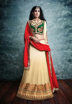 CREAM AND GREEN PARTY WEAR A-LINE LEHENGA CHOLI-809
