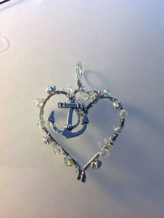 Fish Hook Necklace Fishing Hook Heart Anchor Charm Pendant Necklace -  Custom Made -Many choices of wire colors- Many choices of charms, or without-   contact me through Etsy  icusuezq