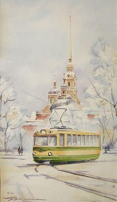 0074 Ленинградский трамвайчик. Бумага, акварель, 2010. Частная коллекция