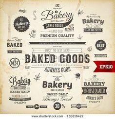 Set of vintage bakery logo badges and labels for retro design