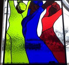 AFRICAN WOMEN DANCING original stained glass window