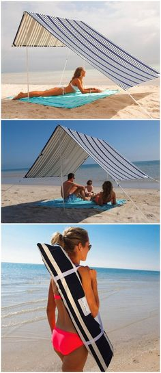 Sombrilla Luxury Beach Umbrella Tent - Indulge in those long summer days at the beach blissfully unaware of the heat as you enjoy yourself under a cool canopy of natural shade.