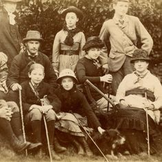1870s COLLIE DOG & GROUP OF WALKERS CABINET CARD PHOTO KESWICK CUMBRIA VICTORIAN