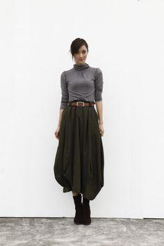 Maxi Skirt Lagenlook Woollen Skirt Sexy Bud Skirt Long Skirt in Army Green - NC505