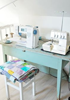 Pretty sewing table set up!