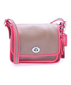 Another great find on #zulily! Coach Brown & Coral Legacy Archival Two-Tone Leather Crossbody Bag by Coach #zulilyfinds