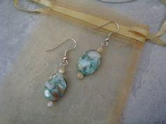 Mother of Pearl Mosaic Earrings by BellaDonnaBead on Etsy,