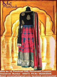 Royal and stylish Anarkali with red embroidery beautifully designed to make you look glamorous by manchaali.