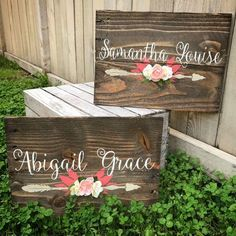 Rustic Nursery Name Arrow and Flowers personalized reclaimed pallet wood sign little girl room boho baby name  hand painted sign by WehuntWoodDecor on Etsy https://www.etsy.com/listing/482822459/rustic-nursery-name-arrow-and-flowers