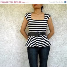 ON SALE Peplum Top Square Neck Shirt with Cap Sleeves made with Stretchy Jersey Choose your Fabric on Etsy, $16.50