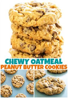 CHEWY OATMEAL PEANUT BUTTER CHOCOLATE CHIP COOKIES - These soft & chewy cookies are the best oatmeal peanut butter cookies you will ever have. #cookies #oatmealcookies #peanutbuttercookies