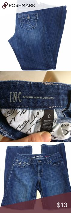 """INC Curvy Fit Boot Leg Jeans Size 8 These jeans have intentional manufacturer distress and an inseam of 30"""". INC International Concepts Jeans Boot Cut"""