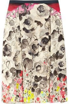 Valentino Printed cotton and silk-blend skirt
