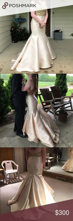 Size 8 Champagne Prom Dress Beautiful and fits snug to curves. True to size! Dresses Prom