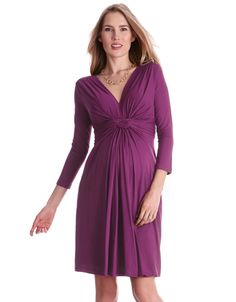 Knot front detail V-neckline that pulls aside for breastfeeding 3/4 sleeve design  Make an elegant entrance in Seraphine's signature knot front maternity dress. Exuding understated glamour in an opulent shade of orchid, this flowing maternity dress is made in a soft silk like jersey, which drapes beautifully and offers uncompromising comfort. The chic knot front style, worn and loved by the Duchess of Cambridge in