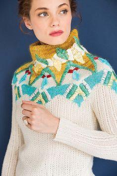 Ravelry: #17 Embroidered Yoke Pullover pattern by Laura Zukaite