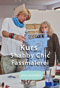 1-Tages Kurs Shabby Chic - Fassmalerei Shabby Chic, Paint Techniques, Mural Painting, Wall Design, Kleding, Shabby Chic Decorating