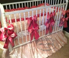 3 Piece Crib Bedding by Social Baby in light pink with 12 dark pink bows on Etsy, $549.00