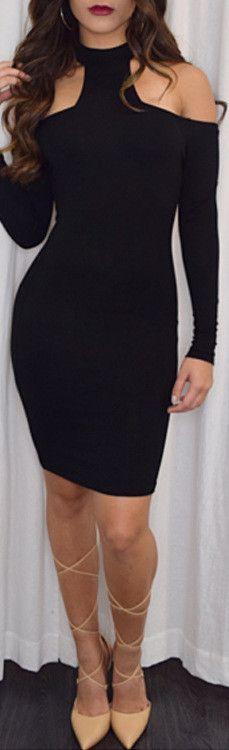 Women Dress 2016 New Fashion Autumn / Winter Sexy Club Bodycon Dress Long Sleeve Black Bandage Party Dress Vestidos