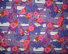 vintage fabric - retro lavender, bubblegum pink, purple and orange floral