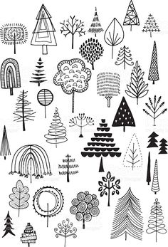 Doodle trees royalty-free stock vector art