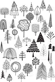 Gekritzel Bäumen Lizenzfreies vektor illustration