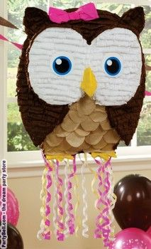 KD-I'm having an owl birthday party.  this is too cute!!!!    Owl Pink Pull-String Pinata $12.93