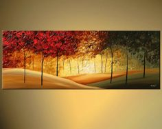 Contemporary Landscape Blooming Trees Painting by Osnat Red Green Abstract Modern Palette Knife Contemporary Abstract Art, Contemporary Landscape, Modern Artwork, Modern Contemporary, Forest Landscape, Landscape Art, Landscape Design, Canvas Painting Landscape, Painting Art