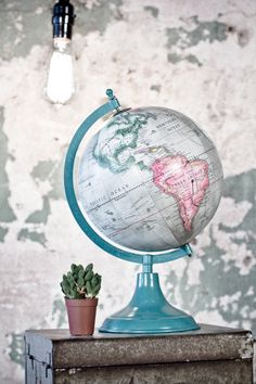 Teal Globe from Earthbound Trading Co. The colors on this globe are lovely! Globe Art, Globe Decor, Map Globe, Studio Photography Poses, World Globes, We Are The World, Travel Themes, Decoration, Sweet Home