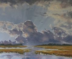 Flight by Paula B. Holtzclaw ~ 20 x 24 Landscape Art, Landscape Paintings, Art Paintings, Landscapes, Beach Grass, Sky And Clouds, Ciel, Arts And Crafts, Watercolor