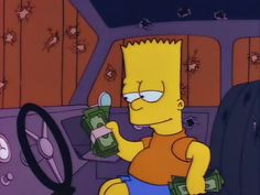 Bart finding money in the car