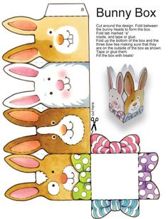 """Dover Publications Easy Easter Tabletop Crafts: 12 """"Eggscellent"""" Cut & Make Deco. - Dover Publications Easy Easter Tabletop Crafts: 12 """"Eggscellent"""" Cut & Make Decorations - Diy Ostern, Origami Box, Easter Projects, Easter Activities, Easter Crafts For Kids, Easter Ideas, Printable Paper, Box Template Printable, Templates"""